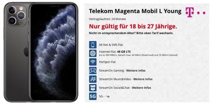 Young + MagentaEins: iPhone 11 Pro für 84€ + Telekom Flat mit 48GB LTE (!) + StreamOn für 49,95€mtl.