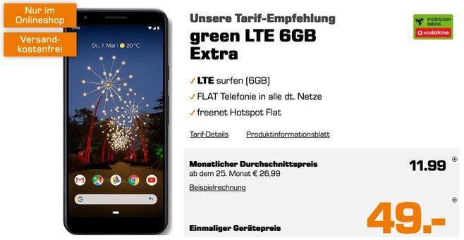 Google Pixel 3a 64GB für 49€ + Vodafone Allnet Flat mit 6GB LTE für rechn. 11,99€ mtl.