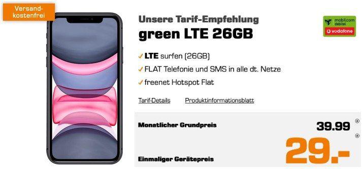 Apple iPhone 11 64GB für 29€ + Vodafone Allnet mit 26GB LTE50 für 39,99€ mtl.