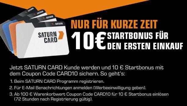 Saturn Card Neukunden: 10€ Startguthaben mit nur 100€ MBW für den ersten Einkauf