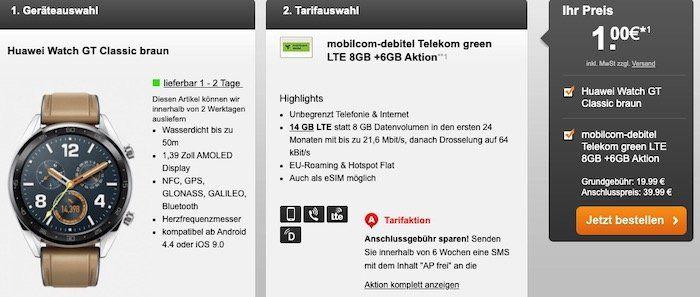 Telekom Flat mit 14GB LTE für 19,99€mtl. + Huawei Watch GT Classic für 1€