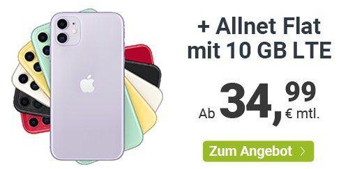 Apple iPhone 11 64GB für 29,99€ mit winSIM o2 Allnet Flat mit 10GB LTE für 34,99€ mtl.