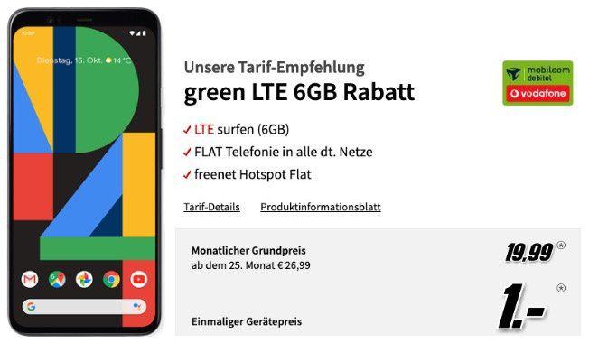 Wieder da: Google Pixel 4 für 1€ + Vodafone Flat mit 6GB LTE50 für 19,99€ mtl.