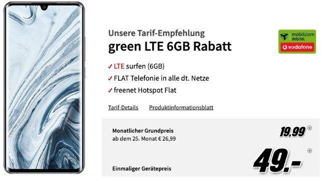 Mi Note 10 Pro 256GB für 49€ + Vodafone Flat mit 6GB LTE für 19,99€ mtl.