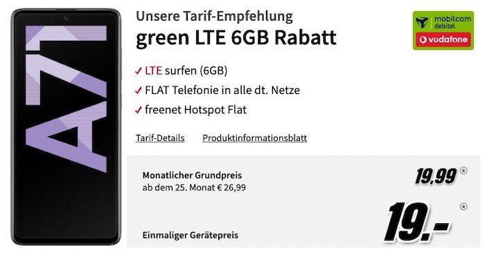 Samsung Galaxy A71 128GB für 19€ + Vodafone Flat mit 6GB LTE für 19,99€mtl.