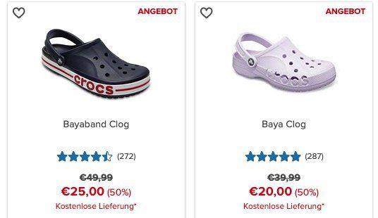 Crocs mit bis zu  50% auf ausgewählte Schuhe + keine VSK