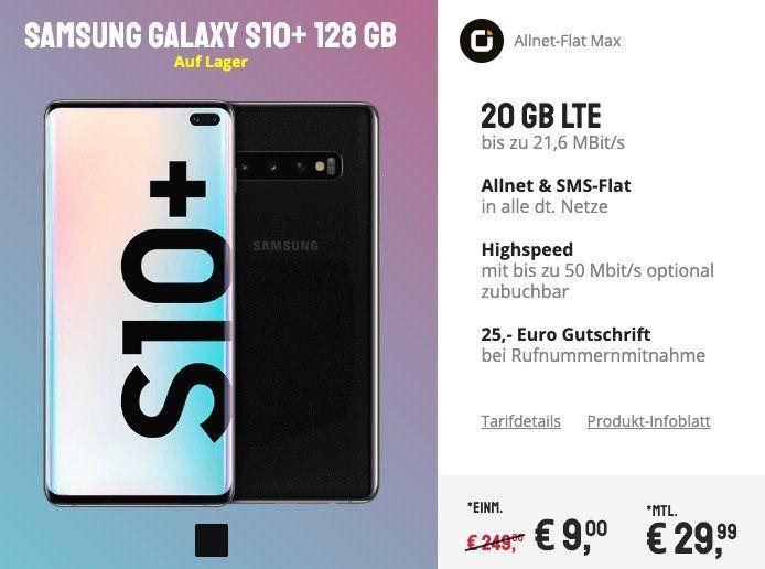 Samsung Galaxy S10+ für 9€ + Vodafone Flat mit 20GB LTE für 29,99€ mtl.