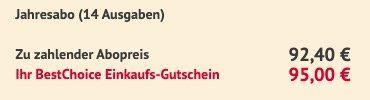 Natur Jahresabo nur 92,40€ + 95€ Bestchoice Gutschein