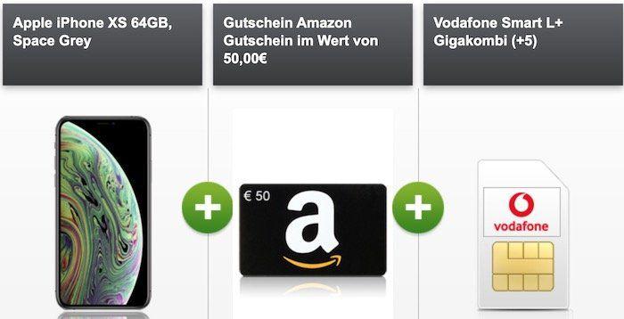 GigaKombi: iPhone XS für 4,95€ + gratis 50€ Amazon Gutschein + Vodafone Flat mit 18GB LTE für 36,99€ mtl.