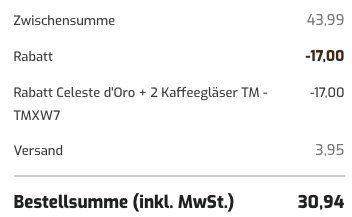 2kg Celeste dOro Kaffeebohnen + 2 Kaffeegläser (je 260ml) für 30,94€