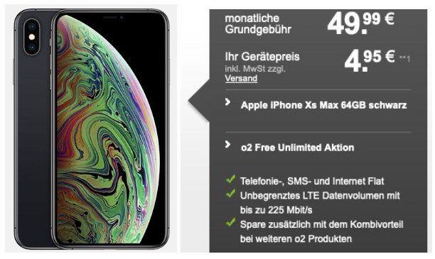 Apple iPhone XS Max mit 64GB für 4,95€   mit O2 Free Allnet Flat mit unlimited LTE Max für 49,99€ mtl.