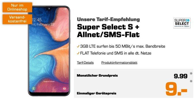 Samsung Galaxy A20e für 9€ + Allnet Flatrate im O2 Netz mit 3GB LTE50 für 9,99€mtl.