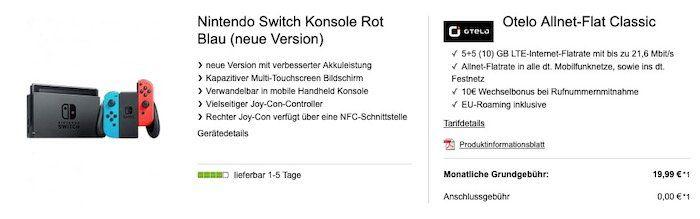 Vorbei! Nintendo Switch Konsole (neue Version) für 4,99€ + Otelo Vodafone AllNet Flat inkl. 10GB LTE für 19,99€ mtl.