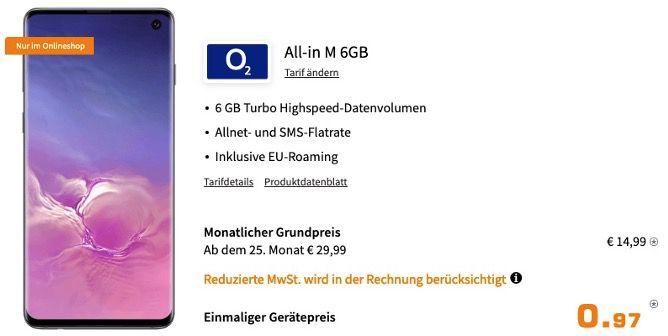 Abgelaufen! Samsung Galaxy S10 128GB für 0,97€ + O2 Flat mit 6GB LTE für 14,99€ mtl.