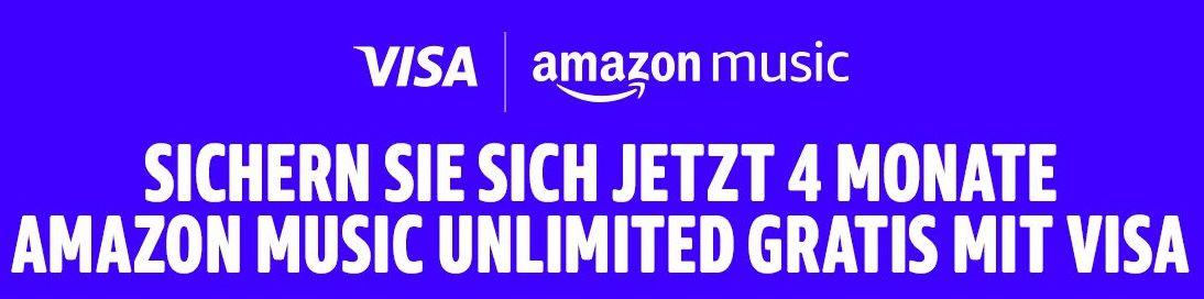 Visa Kunden: 4 Monate Amazon Music unlimited GRATIS (statt 32€)