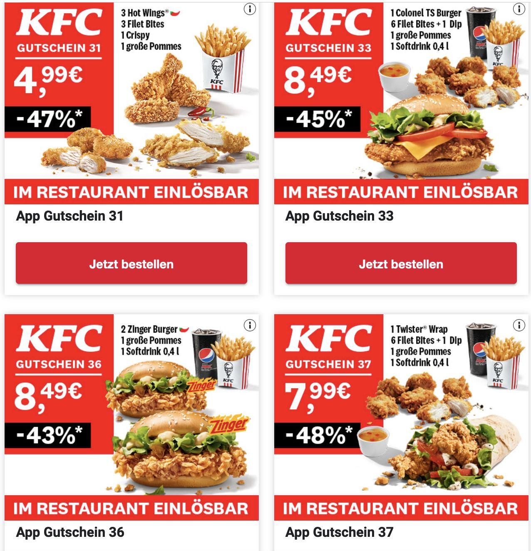 Kentucky Fried Chicken – aktuelle KFC Gutscheine zum Sparen und Ausdrucken