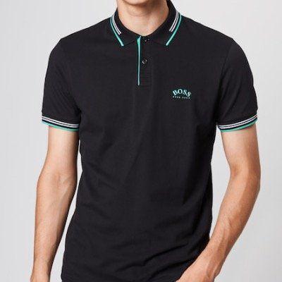 BOSS Polo Shirt Paul Curved in Schwarz für 44,92€ (stat 90€)