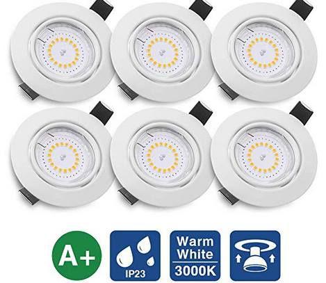 6x KINGSO LED Einbaustrahler Flach 5W IP23 in Warmweiß für 20,99€ (statt 30€)