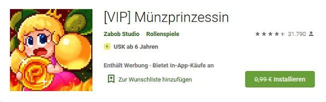 Android: [VIP] Münzprinzessin gratis (statt 1€)