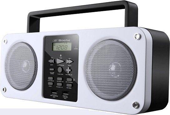 SDIGITAL Mission GB 3300 Bluetooth Boombox (FM, Weiß) für 26,10€ (statt 51€)
