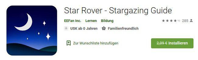 Vorbei! Android: Star Rover   Stargazing Guide kostenlos (statt 2,09€)