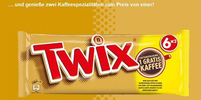 Beim Kauf von Twix eine Kaffeespezialität gratis abstauben