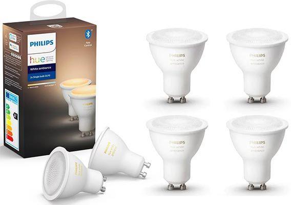 6er Pack: Philips Hue White Ambiance GU10 LED Spot mit BT für 79,89€ (statt 110€)