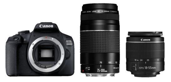 Schnell? Canon EOS 2000D Spiegelreflexkamera Kit mit Objektiv 18 55mm und 75 300mm für 499€ (statt 559€)