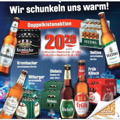 Krombacher, Veltins, Bitburger, Diebels und Früh Kölsch   2 Kisten für nur 20,20€ zzgl. Pfand