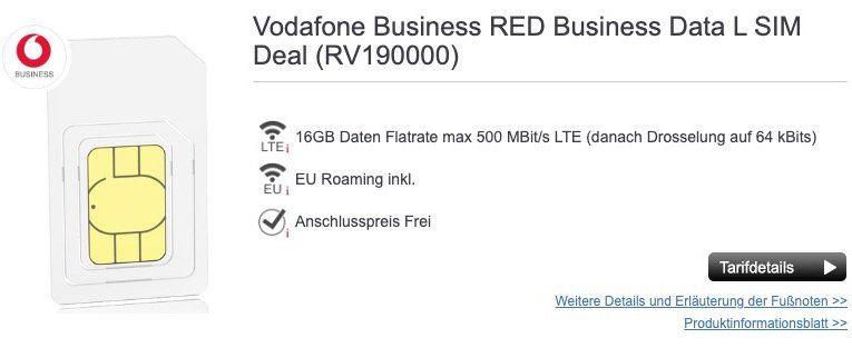 Vodafone Business RED Business Data L mit 16GB LTE für eff. 7,99€mtl.