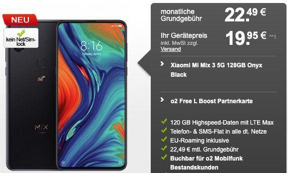 o2 Bestandskunden: Xiaomi Mi Mix 3 5G für 19,95€ + o2 Flat mit 120GB LTE (!!!) für 22,49€ mtl.