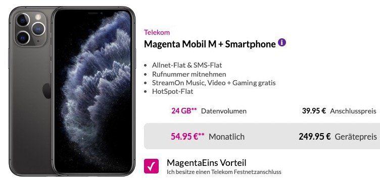 MagentaEins: iPhone 11 Pro 64GB für 249,95€ + Telekom Flat mit 24GB LTE für 54,95€ mtl.