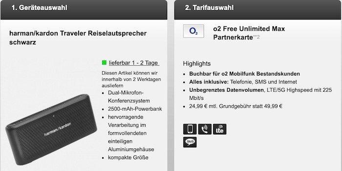 o2 Kunden: Partnerkarte mit unlimited LTE (225 Mbit) inkl. 5G für 24,99€ mtl. + gratis harman/kardon Reiselautsprecher