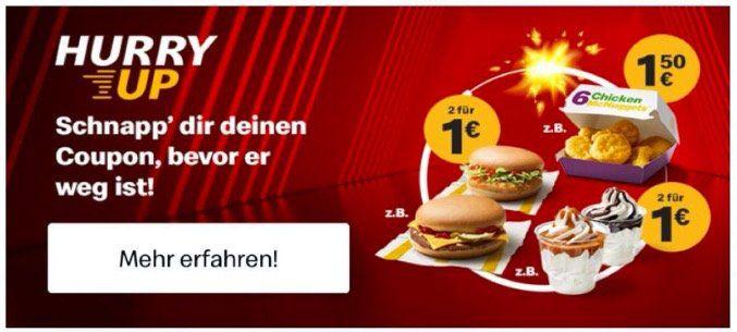 Nur heute Abend: 2 Cheeseburger oder 2 Chickenburger in der McDonalds APP für 1€ (statt 3€)
