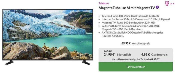 Telekom MagentaZuhause M mit MagentaTV inkl. 50 Samsung UHD Fernseher für 38€mtl.