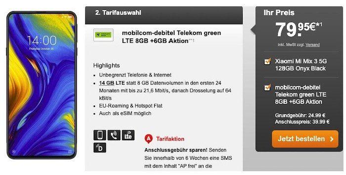 Xiaomi Mix 3 5G für 79,95€ + Telekom Flat mit 14GB LTE (auch eSim) für 24,99€ mtl.