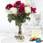 10 gemischte Rosen 40cm mit Schleierkraut inkl. 2x Ritter Sport Mini für 19,90€ (statt 28€)