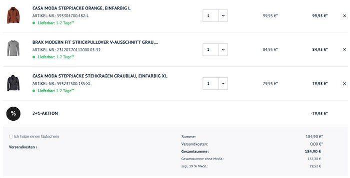 Hemden.de: 3 Aktionsartikel kaufen + nur 2 bezahlen   z.B. Hemden, Jacken, Pullis