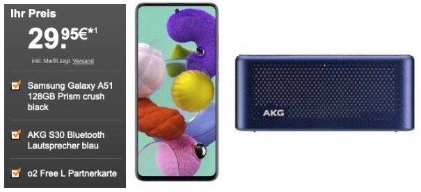 Vorbei! o2 Kunden: Partnerkarte mit 60GB LTE für 19,99€ mtl. + Samsung Galaxy A51 + AKG Lautsprecher für 29,95€