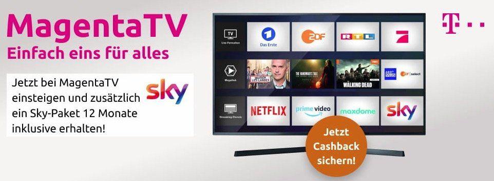 Telekom VDSL (50 Mbit/s) + 1 Jahr MagentaTV + 1 Jahr Sky Paket für eff. 19,12€ mtl.