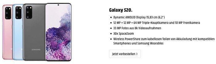 Neue Samsung Galaxy S20, S20+ oder S20 Ultra vorbestellen   auch Deals mit Mobilfunkvertrag
