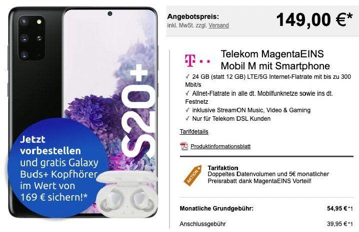 MagentaEins: Samsung Galaxy S20+ inkl. Galaxy Buds+ für 149€ + Telekom Flat mit 24GB LTE für 54,95€mtl.