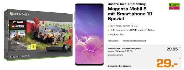 Samsung Galaxy S10 + Xbox One X Forza für 29€ + Telekom Flat mit 6GB LTE für rechn. 29,95€mtl.