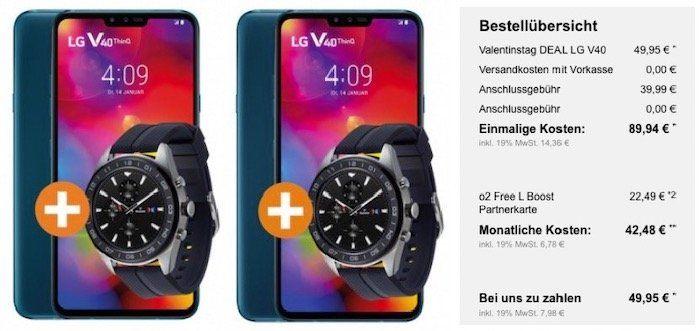 Pärchen Knaller: 2x LG V40 ThinQ + 2x LG W7 Watch für 89,94€ + 2x o2 Tarif (5GB + 120GB) für zusammen 42,48€mtl.