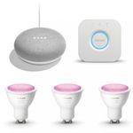 Philips Hue White & Color Ambiance GU10 Bluetooth Starter Kit (3 Lampen + Bridge) inkl. Google Home Mini für 129,95€ (statt 158€)