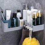 Yigii Eck-Duschablage mit Duschkorb und 4 Haken ohne Bohren montierbar für 12,64€ (statt 23€)