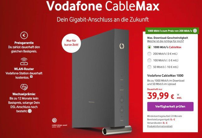 Vodafone Cablemax Gigabit Tarif dauerhaft (!) für 39,99€mtl.