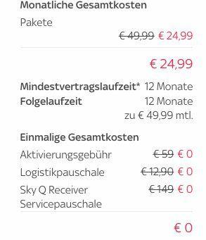 Sky Sport + Bundesliga + Sky Q UHD Receiver für 24,99€ mtl. + keine VSK + keine Aktivierungsgebühr