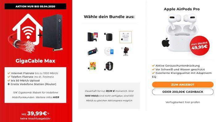 Vodafone/Unitymedia GigaCable mit 1 Gigabit für 39,99€ mtl. inkl. Zugabe: z.B. Apple AirPods Pro für 49,95€
