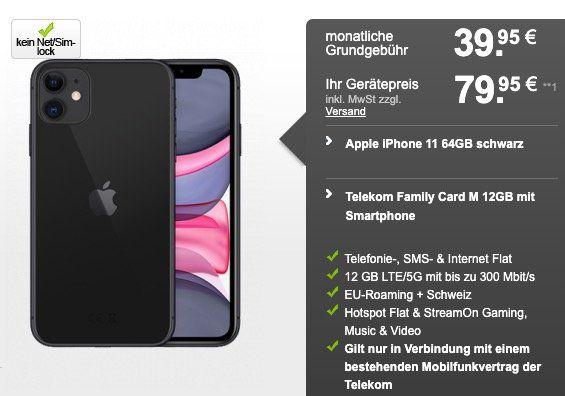 Bestandskunden: Telekom Family Card M 12GB LTE für 39,95€mtl. + iPhone 11 für 79,95€